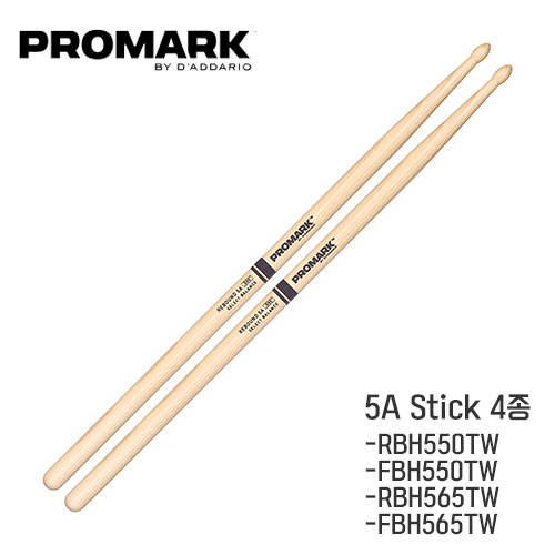 Promark - Select Balance Hickory 5A 스틱(Wood/550,565) l 프로마크 셀렉트 발란스 히코리 RBH550TW-681617 / FBH550TW-681612 / RBH565TW-681618 / FBH565TW - 681613