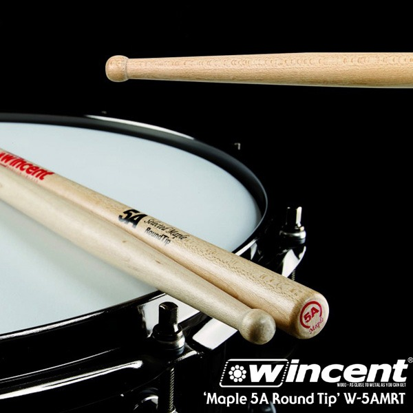 [드럼코리아 1599-3867]Wincent Maple 5A Round Tip Drum Stick /W-5AMRT 윈센트 드럼스틱