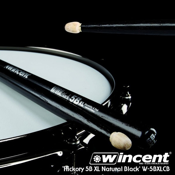 [드럼코리아 1599-3867] Wincent Hickory 5B XL Black Drum Stick /W-5BXLCB 윈센트 드럼스틱