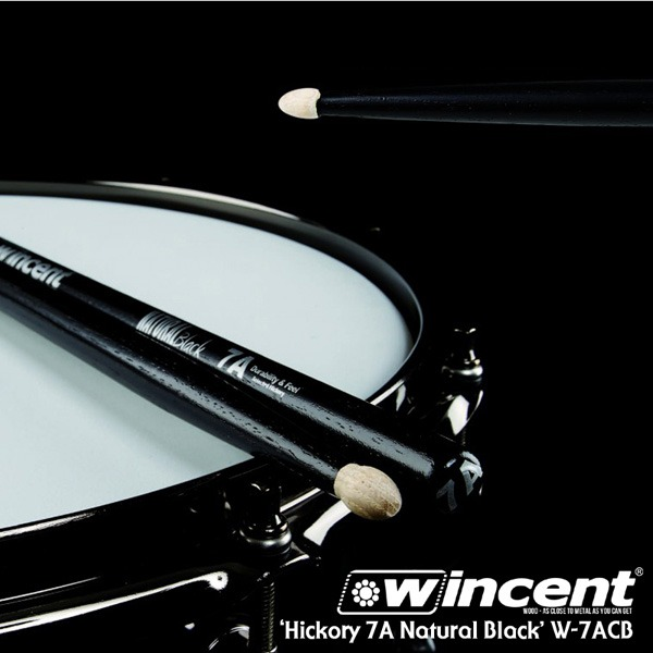 [드럼코리아 1599-3867] Wincent Hickory 7A Black Drum Stick /W-7ACB 윈센트 드럼스틱