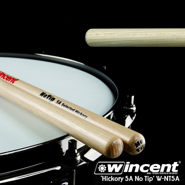 Wincent Hickory 5A No Tip Drum Stick /W-NT5A 윈센트 드럼스틱