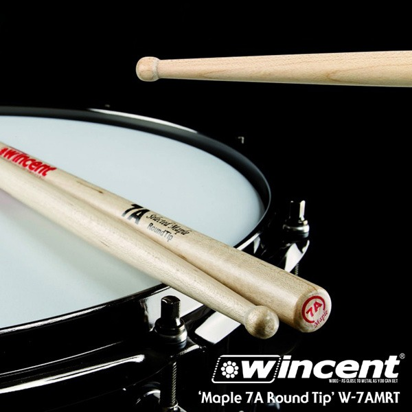 [드럼코리아 1599-3867]Wincent Maple 7A Round Tip Drum Stick /W-7AMRT 윈센트 드럼스틱