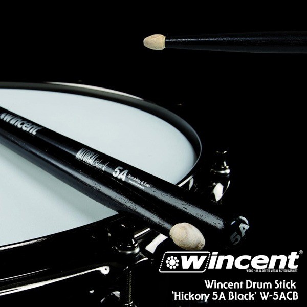 [드럼코리아 1599-3867] Wincent Hickory 5A Black Drum Stick /W-5ACB 윈센트 드럼스틱