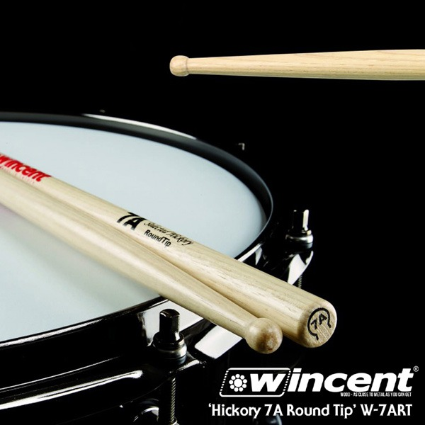 [드럼코리아 1599-3867] Wincent Hickory 7A Round Tip Drum Stick /W-7ART 윈센트 드럼스틱