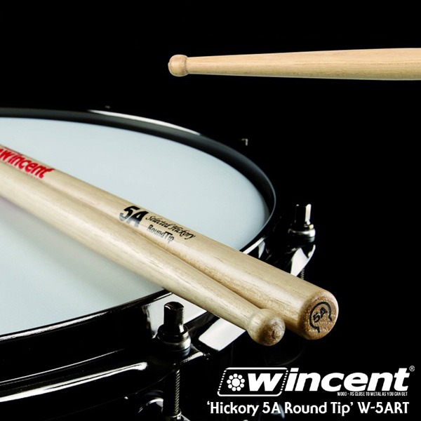 [드럼코리아 1599-3867] Wincent Hickory 5A Round Tip Drum Stick /W-5ART 윈센트 드럼스틱